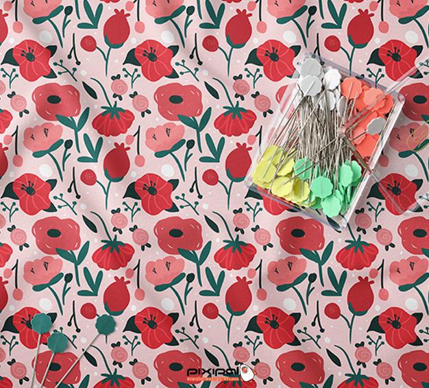 پترن پارچه گل قرمز
